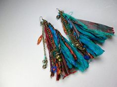 Reserved Listing for Venice Henna: Blue Sari Silk Earrings