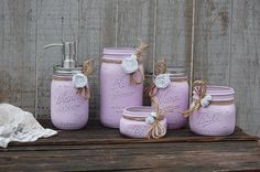 Bathroom Soap Dispenser Lavender White by TheVintageArtistry Crafts With Glass Jars, Wine Bottle Crafts, Mason Jar Crafts, Rustic Mason Jars, Painted Mason Jars, Mason Jar Bathroom, Burlap Bathroom, Bathroom Ideas, Lavender Bathroom