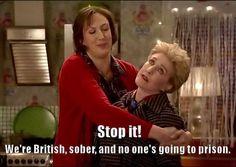 Were British, sober, and no ones going to prison. - Patricia Hodge with Miranda Hart Miranda Tv Show, Miranda Bbc, British Humor, British Comedy, Miranda Hart Quotes, Tv Quotes, Funny Quotes, Comedy Tv, Funny