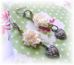 """Satin Cabbage Rose Earrings Dangles Hearts """"I Love U"""" Antiqued Patina Cream White Flowers Shabby Chic"""