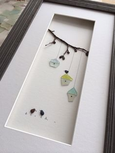 Sharon Nowlan original art with pebbles and sea glass by PebbleArt