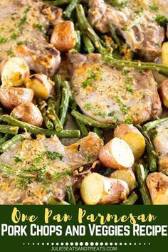 Sheet Pan Parmesan Pork Chops and Vegetables ~ Easy Parmesan Pork Chops Baked in the Oven! Roasted and Potatoes make this a great Pork Chop Meal. If you are looking for a healthy pork chop recipe you will love this one! Pan Pork Chops, Pork Chops And Potatoes, Juicy Pork Chops, Baked Pork Chops, Easy Pork Chop Recipes, Pork Recipes, Veggie Recipes, Dinner Recipes, Healthy Recipes