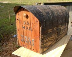 with cedar door Mailbox Post, Mailbox Ideas, Rustic Mailboxes, Cedar Door, Mailbox Makeover, New Homeowner, Bird Houses, Cabin Ideas, House Ideas