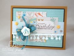 Fun and Festive Happy Birthday - by Tricia Traxler using products by Prima, Spellbinders and May Arts Ribbon all from The Stamp Simply Ribbon Store.
