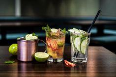 Welcher Cocktail ist dein Favorit? 🍹🤩🍸🥒✨ Jeden Donnerstag und Freitag von 17 - 19 Uhr Bestelle zwei Drinks und erhalte dazu unser Thai-Fingerfood (8 Stück) für 5.– statt 12.– After, Restaurant, Moscow Mule Mugs, Cocktails, Tableware, Drinks, Kitchens, Thai Dishes, Thursday