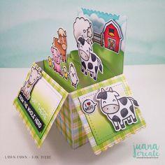 Juana Ambida | Lawn Fawn Hay There and interactive dies | Lawnfawnatics challenge #4 Fun with dies. #juanacreate, #handmadecards