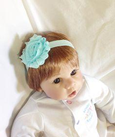 aqua chic headband, newborn photo prop, flower girl hairpiece, elastic headband, shabby chic hair clip, baby stocking stuffer, aqua flower