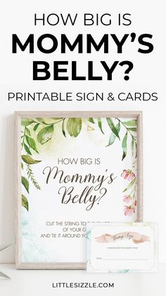 How Big Is Mommy's Belly DIY Baby Shower Games Printable Table Sign & Cards Girl Baby Shower Decor. Kick off the fun at your girl baby shower party with an easy to set up How Big Is Mommy's Belly Game. All you need is this greenery table sign with matching guessing game cards, string or yarn and scissors. This girl baby shower game is perfect to entertain large groups of guests. #girlbabyshowergames #girlbabyshowerdecor #babyshowerideas #howbigismommysbelly #bumpsizegame #printable #DIY #green Unique Baby Shower, Baby Shower Fall, Floral Baby Shower, Baby Shower Activities, Baby Shower Games, Shower Party, Baby Shower Parties, All You Need Is, Garden Baby Showers