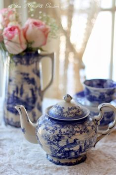 Blue & White Transferware Winter Tea - Aiken House & Gardens