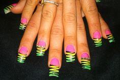 Rasta tiger striped crazy fun nails by Angela @The Beauty Lounge Rozelle Australia walnut creek