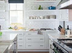 white kitchen + subway tile + open shelves