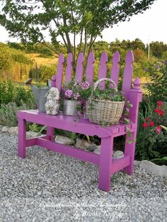 Very sweet garden bench from a picket fence section.