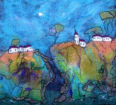 Wet Felted Wall Art. Large Original Fibre Art. Across by LJSoar