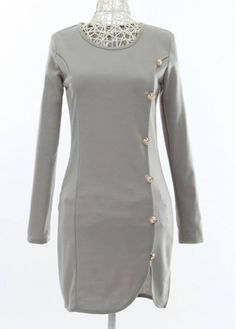 Laconic Round Neck Long Sleeve Dress with Button with cheap wholesale price, buy Laconic Round Neck Long Sleeve Dress with Button at rotita.com !