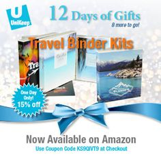 Day 4 is UniKeep Travel Binder Kit! Enter ‪#‎couponcode‬ KS9QIVT9 for 15% off. Coupon is good until 12:00AM PST.