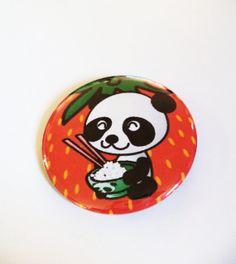 Cute Strawberry Panda Kawaii Pinback Button OR Magnet by MAGICbyAnnaPanda, $3.00