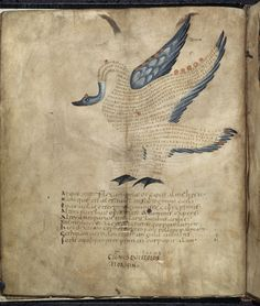 Description: 	Illustration of the swan of the constellation Cygnus, with text or scholia within the figure of the constellation.  Origin: 	France, N. (diocese of Reims)