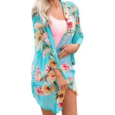 f06e4e3f8e Fashion Womens Chiffon Shawl Print Kimono Cardigan Top Cover up Blouse  Beachwear   Be sure to