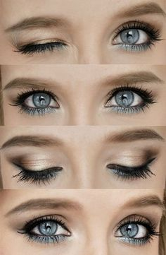#makeup gold and blue eyeshadows
