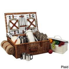 The quality and sophistication of the English-style Dorset Picnic Basket for four is sure to impress. This set is beautifully hand crafted using full reed willow with leather handle, closures, hinge covers.