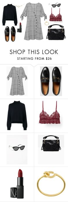 """Edinburgh"" by zsucukor ❤ liked on Polyvore featuring MANGO, Gucci, Rejina Pyo, NARS Cosmetics, Maria Black, loafers, autumn, prefall and aw17"
