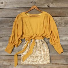 Sequined Autumn Dress, Sweet Women's Country Clothing