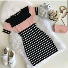 F A S H I O N look vestido dress roupas fashion moda Girls Fashion Clothes, Teen Fashion Outfits, Mode Outfits, Cute Fashion, Outfits For Teens, Fashion Dresses, Fashion Fashion, Fashion Today, Fashion Trends