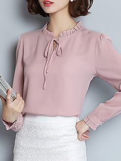 38fa046766f04 Bow Elegant Stand Collar Long Sleeve Blouse