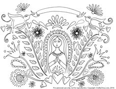 Free printable for coloring or embroidery by Kathy Cano-Murillo,  CraftyChica.com.  http://www.craftychica.com/2014/11/mother-mary-pattern/