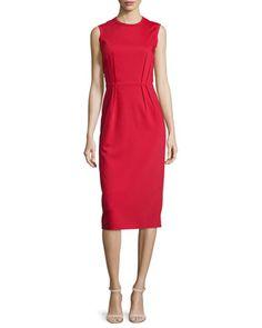 Sleeveless Pleated-Waist Sheath Dress, Red by Jil Sander Navy at Neiman Marcus.