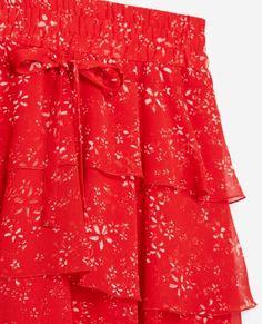 Jupe fluide rouge Moonflowers - THE KOOPLES SPORT FEMME