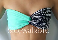 Mint and Tribal Bandeau Top Spandex Bandeau Bikini (SKINNY BACK)