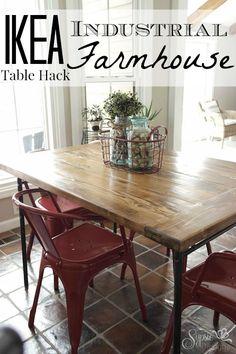 IKEA Industrial Meets Farmhouse Table Hack - Sypsie Designs