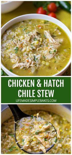 Chicken and Hatch Chile Stew – Life Made Simple This bold and flavorful chicken and hatch chile stew is ready to go in just 1 hour! It's loaded with shredded chicken, fresh corn, rice, and of course hatch chiles! Green Chili Recipes, Mexican Food Recipes, Dinner Recipes, Dinner Ideas, Hatch Chili, Cooking Recipes, Healthy Recipes, Best Soup Recipes, Favorite Recipes