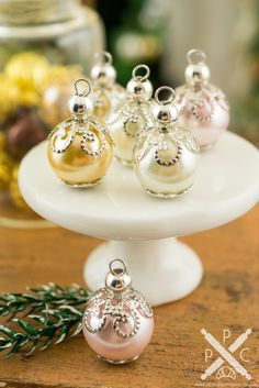 Elegant Pink, Ivory and Peach Christmas Ornaments - Set of 6 - 1:12 Dollhouse Miniature