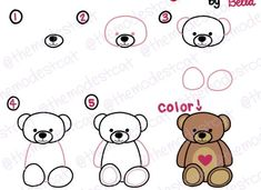 How to Draw a teddy bear. Hope you enjoy! Basic Drawing, Drawing Lessons, Step By Step Drawing, Drawing For Kids, Art Lessons, Art For Kids, Doodle Drawings, Cartoon Drawings, Easy Drawings
