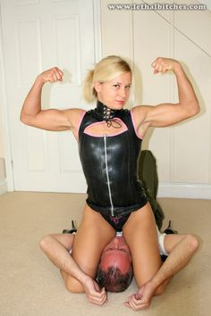 Another male in big trouble as she flexes over him