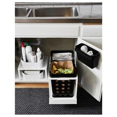 IKEA - VARIERA, Recycling bin, black, You can choose the size and number of VARIERA recycling bins that suit you and your home the best. Place the bin under the sink, in a drawer or in a cabinet. Rounded corners for easy cleaning. Under Kitchen Sinks, Kitchen Sink Storage, Kitchen Sink Faucets, Old Kitchen, Kitchen On A Budget, Kitchen Cupboards, Kitchen Ideas, Kitchen Black, Kitchen Updates