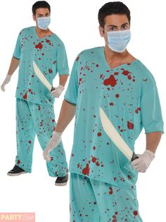 Adults Bloody Scrubs Halloween Costume Mens Ladies Doctor Surgeon Fancy Dress