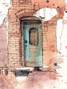 """The blue door royal hotel print of original by cathyjohnsonart"" watercolor and ink, Watercolor Sketch, Watercolor Illustration, Watercolor Paintings, Watercolours, Watercolor Architecture, Architecture Art, Guache, Urban Sketching, Art Sketchbook"