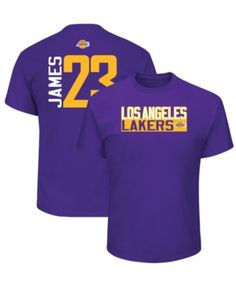 4a8c7b14160 Majestic Men LeBron James Los Angeles Lakers Vertical Name and Number  T-Shirt