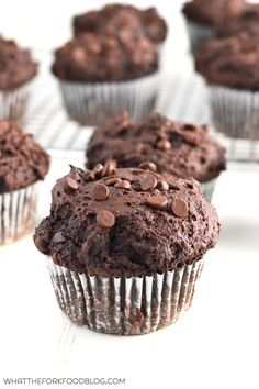 Gluten Free Bakery Style Double Chocolate Chip Muffins from What The Fork Food Blog | @WhatTheForkBlog | whattheforkfoodblog.com