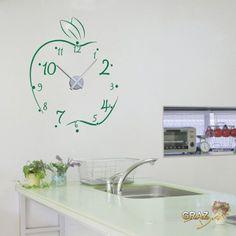 Vinilo de pared: Decoración de pared con reloj manzana Para la cocina (reloj=Plata cepillada//Color=041 Rosa): Amazon.es: Hogar