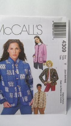 Misses' Lined Jackets McCall's 4309 Sewing by WitsEndDesign