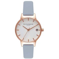 Olivia Burton The Dandy Watch - Chalk Blue & Rose Gold ($95) ❤ liked on Polyvore featuring jewelry, watches, rose gold wrist watch, white dial watches, olivia burton, white faced watches and blue jewelry