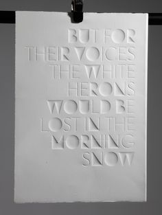 But for their voices the white herons would be lost in the morning snow