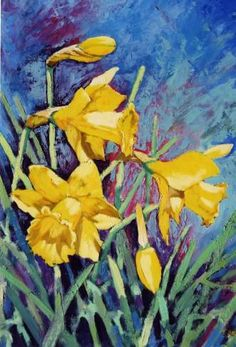 Daffodils spring flowers oil painting