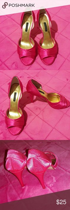 CAPARROS Pink heels Used, in excellent condition. Satin material with a Manmade upper leather sole. Caparros Shoes Heels