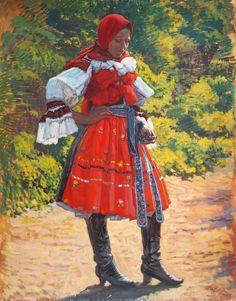 Rudolf Bém: Dívka z Vlčnova (Girl from Vlčnov), 1914 Global Art, Beautiful Patterns, Art Market, Folklore, Postcards, Roots, Bohemian, Painting, Ethnic Dress