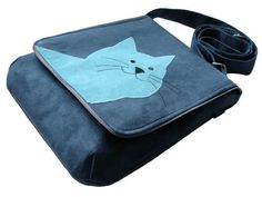Blue Cat Themed Crossbody Bag Cat Mom Bag with Flap OOAK by ifONA